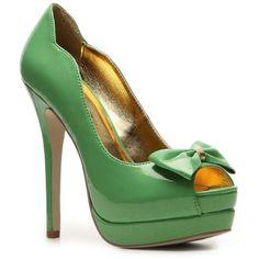C Label Jocelyn-47 Pump ($35) ❤ liked on Polyvore featuring shoes, pumps, heels, green, sapatos, pumps & heels, stiletto heel pumps, platform stilettos, high heel shoes and bow tie pumps