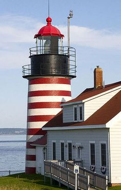 Maine Quoddy Head Light House in Lubec.  I think this is the only striped lighthouse in the United States.  Stripes are a Canadian thing.
