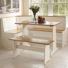 Linon Ardmore 3 Piece White Pine Corner Breakfast Nook