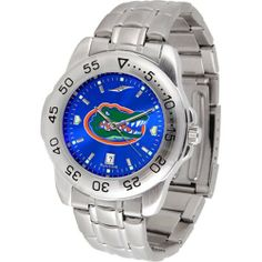 """Florida Gators NCAA AnoChrome """"Sport"""" Mens Watch (Metal Band) by SunTime. $63.00. Calendar Date Function. Scratch Resistant Face. Rotation Bezel/Timer. This handsome, eye-catching watch comes with a stainless steel link bracelet. A date calendar function plus a rotating bezel/timer circles the scratch resistant crystal. Sport the bold, colorful, high quality logo with pride. The AnoChrome dial option increases the visual impact of any watch with a stunning radia..."""