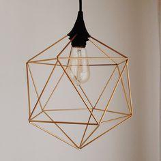 Himmeli Hanging Brass Light Pendant Geometric Light by FALTO