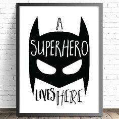 Nursery Prints. Boys Prints. Batman Bedroom Wall Art Decor. Baby Boys Superhero Nursery Print. A Superhero Lives Here Print.