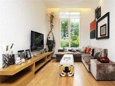 AuBergewohnlich Schmales Wohnzimmer   Weiße Tapeten Und Flachbild Fernseher An Der Wand
