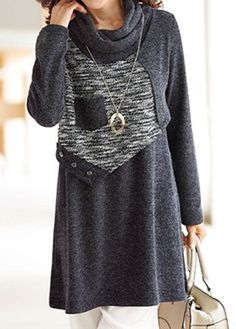 Long Sleeve Cowl Neck Patchwork Grey Blouse.
