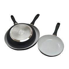 "IMUSA USA IMU-35010 3 Piece Induction Ceramic Saute Pans, 8""/10""/12"", Gray"