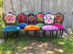 Funky Painted Furniture, Painted Chairs, Repurposed Furniture, Cool Furniture, Painted Dressers, Furniture Design, Furniture Plans, Homemade Furniture, Futuristic Furniture