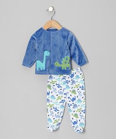 Look at this #zulilyfind! Rumble Tumble Blue Dinosaur Cardigan & Footie Pants - Infant by Rumble Tumble #zulilyfinds