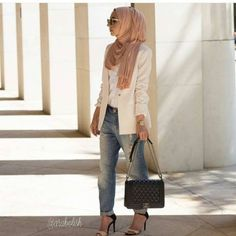 creamy blazer hijab look, New trends just for hijab http://www.justtrendygirls.com/new-trends-just-for-hijab/