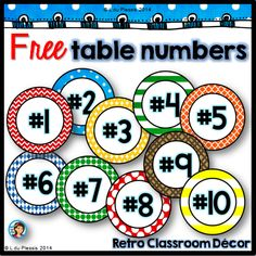 Free table numbers, perfect for back to school classroom decorating! Classroom Labels, Classroom Organisation, Teacher Organization, Classroom Setup, Classroom Design, Teacher Tools, Kindergarten Classroom, School Classroom, Classroom Management