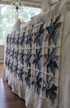 You can make your own quilt from old jeans and cloth drop cloth for cheap or for $435.00, the material will be cut and sent to you ready-to-sew.