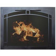 "Ironhaus Elegant Series Fireplace Glass Door Size: 24"" H x 39"" W x 3"" D, Finish: Textured Black"