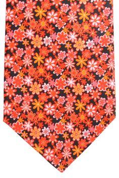 Vitaliano Pancaldi Silk Tie Black Orange Pink Floral