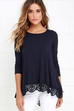No other top can hold a candle to the Just Like Vacation Navy Blue Long Sleeve Top! This jersey knit top has a round neckline and long fitted sleeves topping its roomy bodice. The waistline shows off a high-low hem, trimmed in a crochet border, decorated with cute floral designs.