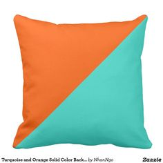 Turquoise and Orange Solid Color Background #2