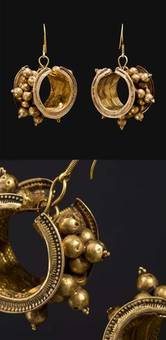South India - Tamil Nadu | Pair of earrings; gold. ca. 1st half of the 20th century | 1'850€