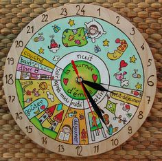 VOTRE KID's 24 h Horloge quotidienne, Routine Quotidienne, horloge enfant - The wall clock Wall Clock Luxury, Clock For Kids, Toddler Schedule, Wooden Clock, Cool Walls, Diy Wall, Kids And Parenting, Diy For Kids, Kids Playing