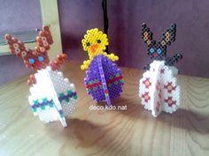 3D Ostereier - Easter eggs hama beads by DECO.KDO.NAT http://www.creactivites.com/234-plaques-perles-a-repasser-midi-hama