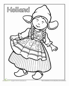 Dutch Traditional Clothing Coloring Page Worksheet