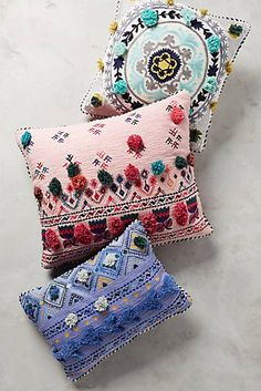 Tufted Leyland Pillow, gotta be fairly easy to DIY Colorful Throw Pillows, Decorative Pillows, Cricut, Textiles, Bed Pillows, Cushions, Pillow Inspiration, Soft Furnishings, Home Collections