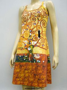 A beautiful new hand printed Art Dress featuring Gustav Klimt's Tree of Life .