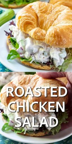 ROASTED CHICKEN SALAD Easy Roasted Chicken Salad is the best chicken salad recipe ever. Mayonnaise, celery, onions and special seasoning makes this a huge favorite! Best Chicken Salad Recipe, Best Roasted Chicken, Chicken Recipes, Salad Chicken, Chicken Salad Sandwiches, Vegetarian Sandwiches, Panini Sandwiches, Salat Sandwich, Chicken