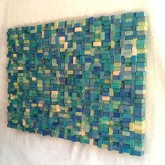 Wall Sculpture Sea Shore Wood Block assemblage by TateLowe on Etsy, Mosaic like Wooden Wall Art, Wood Wall, Diy Arts And Crafts, Wood Crafts, Wall Sculptures, Sculpture Art, Pop Art Bilder, Cadre Diy, Turquoise Walls