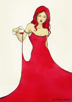 """Red Wine Red Dress"" Wine Art by Melissa Haslam #women&wine #cCreams #cRed"