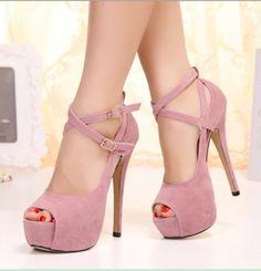 Stylish Belt and Buckle Design Peep Toed Shoes