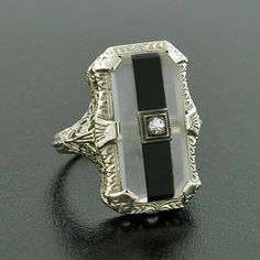 Art Deco 14kt Rock Quartz Crystal, Onyx & Diamond Ring