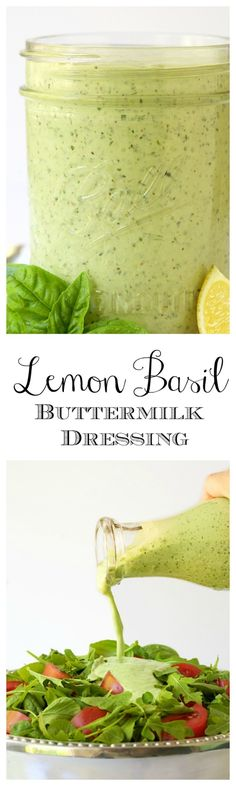 Lemon Basil Buttermilk Dressing - a thousand times better than boring ranch, this dressing is the perfect way to add pizzaz salads. It's also great drizzled on chicken, fish, shrimp, etc and great on baked potatoes!