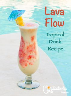 A tasty beach cocktail! It's a Pina Colada with added ingredients. Fresh and tastes just like your on an island vacation. tropical drink How To Make a Lava Flow Drink (Rum Drink Beach Cocktails, Frozen Cocktails, Summer Drinks, Cocktail Drinks, Frozen Mixed Drinks, Easy Mixed Drinks, Hawaiian Cocktails, Rum Cocktail Recipes, Mix Drinks