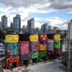 Os gêmeos Otávio e Gustavo Pandolfo terminaram nesta semana um trabalho do tipo tridimensional, e em grande estilo. Criaram a sua arte em 360° em cima de silos de 23 metros de altura para armazenamento de trigo. A obra, que demorou um mês para ficar pronta, fica em Vancouver, no Canadá, e foi criada para a Bienal da cidade.Créditos: Reprodução / Instagram