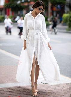Dress -  63.99 - Solid Pockets Collar Long Sleeve Maxi Dress (1955136887)  Fashion Moda d26ed632ffc4