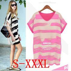 2014 New women fashion women dresses chiffon tops blouses spring summer color block stripe dress plus size loose T-shirts k1108 $10.99
