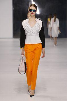 Dior Cruise 2014 – Look 17: Black and pastel silk jacket with orange wool pants. #Dior #colorblock #orange #fashion #Sewcratic