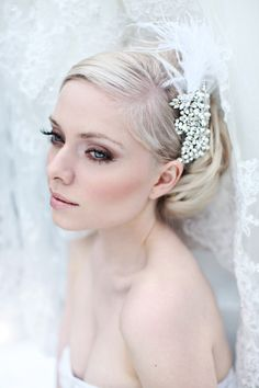 feather headband  - Romantic hair piece with rhinestones, tulle and feathers