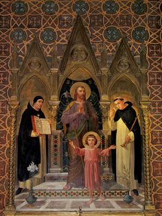 This reredos in the Dominican church of the Holy Rosary in Rome, near the Vatican, depicts St Joseph with the boy Jesus.   They are flanked by the doctor of the Church, St Thomas Aquinas, whose feast falls today, 28 January, and the Spanish saint and preacher, St Vincent Ferrer.