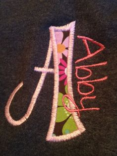 Personalized Blue and Green Applique Letter T-shirt. $22.00, via Etsy.