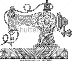 Sewing machine zentangle coloring page Doodle Art Drawing, Zentangle Drawings, Mandala Drawing, Art Drawings Sketches, Zentangles, Sewing Machine Drawing, Dibujos Zentangle Art, Mandala Art Lesson, Buch Design