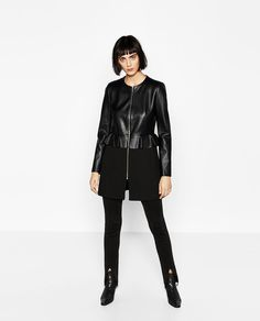 CONTRAST LEATHER EFFECT FROCK COAT
