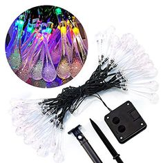 Isightguard 30 LED Icicle Lights Solar Powered Water Drop Garden String Fairy Lights LED Waterproof Decorative Lights for Outdoor Garden Patio Christmas Xmas Tree Holiday Party Multicolor * Click image for more details.