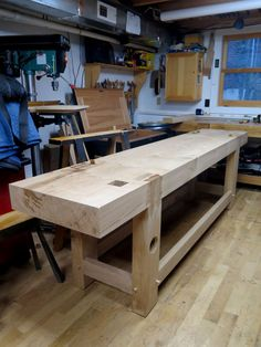 Woodworking Bench - I don't sleep as well when I have French workbench in pieces in my shop. Even a little wood movement in the joints can make assembly a bear, or at least a ticked-off warthog. Yesterday I fit the le… Woodworking Basics, Woodworking Supplies, Woodworking Workbench, Woodworking Furniture, Woodworking School, Woodworking Projects, Wood Furniture, Woodworking Techniques, Woodworking Organization