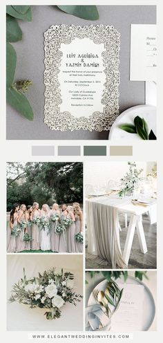 elegant light grey and greenery garden wedding with matching invitation card