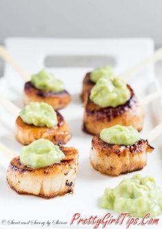 @prettygirltips Seared Scallops with Avocado Sauce