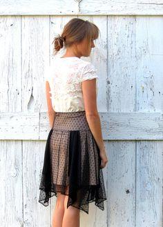 Little black dress, womens holiday dress, upcycled hi low hem dress