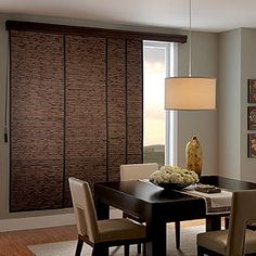 Possible alternative to vertical blinds for sliding glass patio doors.