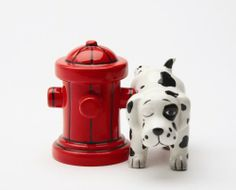 Where's the Fire? Hydrant & Dalmation Salt & Pepper Shakers by Pacific Trading. $12.50. approx 2 1/4 x 4 1/2 inches wide. Ceramic. Where's the Fire? Hydrant & Dalmation Pup  Salt & Pepper Shakers