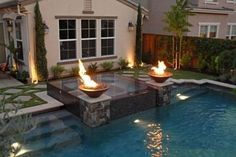 SuperNatural Mommy saved to My Personal Resort / Outdoor LivingFire bowls for pool #homedesignideas #hottubpool #poolspa