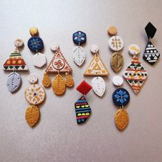 [SOLD OUT] Apr's Premium Collection ♡ Tribal Aztec Series ♡ Coming your way on 5 Apr, This series was created with idea… Polymer Clay Crafts, Polymer Clay Jewelry, Jewelry Crafts, Handmade Jewelry, Diy Clay Earrings, Play Clay, Metal Clay Jewelry, Clay Charms, Clay Creations
