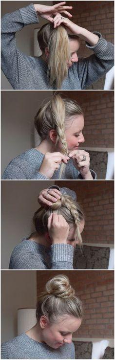 BRUN - half braid, half bun ...so schnell und einfach kann den süßen Dutt jeder nachmachen. Step by Step Anleitung-geflochtene Haare-haare flechten-frisur-frisuren-diy-praktische Frisur für den Alltag